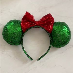 Green + Red Sequin Minnie Ears!